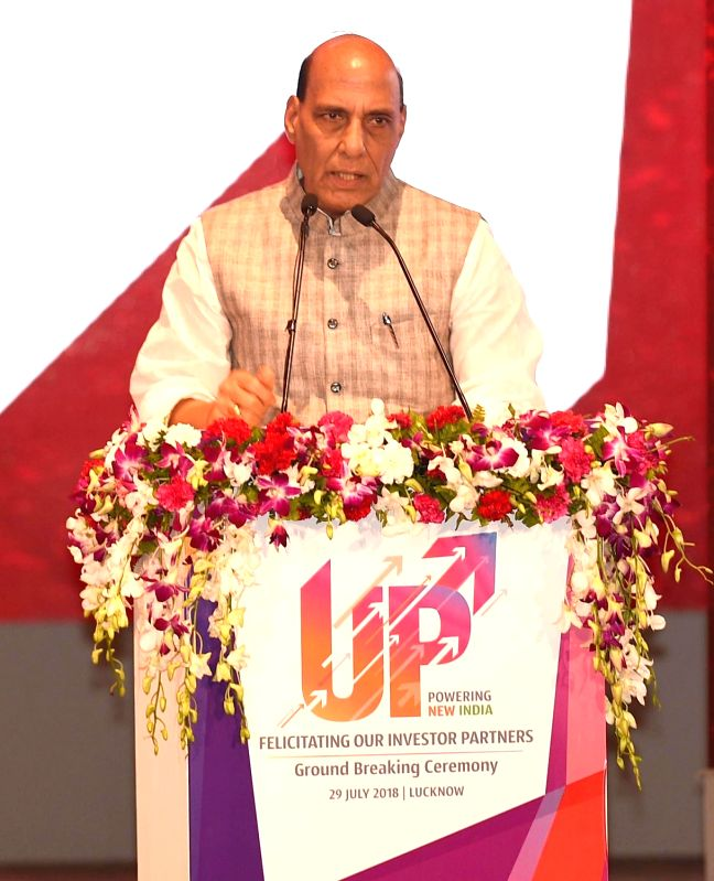 Union Home Minister Rajnath Singh addresses at the inauguration of various development projects, in Lucknow, on July 29, 2018. - Rajnath Singh