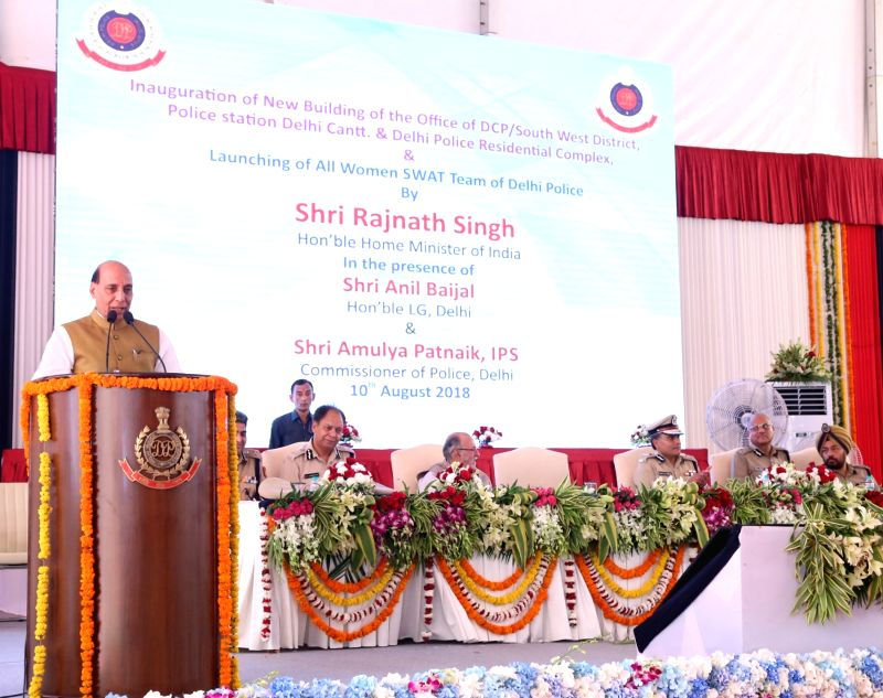 Union Home Minister Rajnath Singh addresses at the foundation stone laying ceremoy of the DCP South- West district, Police station Delhi Cantt. Office building and Delhi Police Residential ... - Rajnath Singh