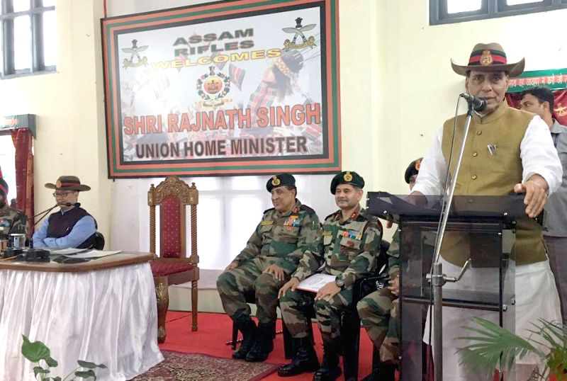 Union Home Minister Rajnath Singh addresses the Sainik Sammelan at 46 battalion of Assam Rifles in Aizawl, Mizoram on June 13, 2017. Also seen Minister of State for Home Affairs Kiren Rijiju. - Rajnath Singh