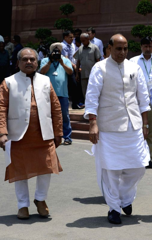 Union Home Minister Rajnath Singh after the Cabinet meeting at the Parliament in New Delhi on May 11, 2016. - Rajnath Singh