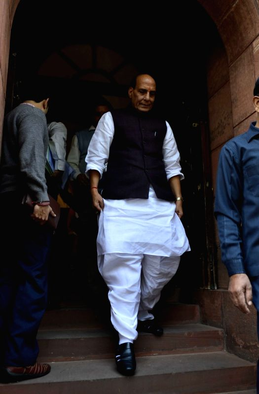 Union Home Minister Rajnath Singh after the Day-1 of the winter session of the Parliament in New Delhi, on Nov 26, 2015. - Rajnath Singh