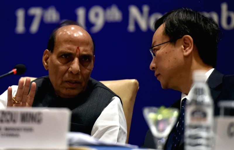 Union Home Minister Rajnath Singh and Chinese Vice Minister Zou Ming during the Inaugural Session of the Asian Leaders' Meeting towards Implementation of the Sendai Framework, in New ...