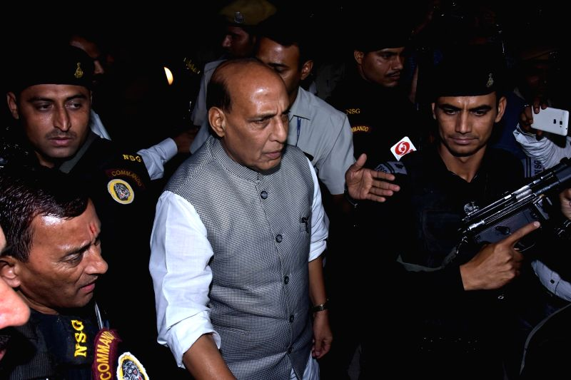 Union Home Minister Rajnath Singh arrives at Jaipur International Airport on April 18, 2017. - Rajnath Singh