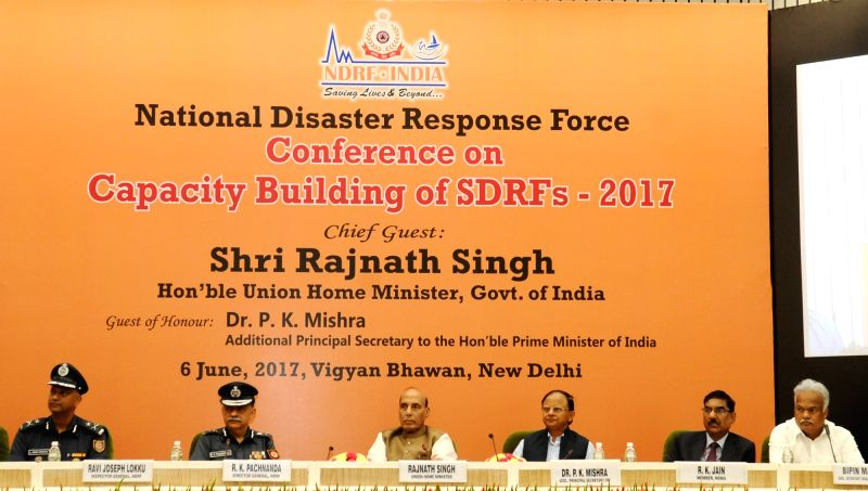 Union Home Minister Rajnath Singh at inauguration of a two-day long National Level Conference on Capacity Building of SDRF-2017 organised by NDRF in New Delhi on June 6, 2017. - Rajnath Singh
