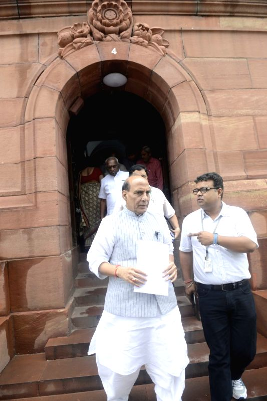 Union Home Minister Rajnath Singh at Parliament in New Delhi, on Aug 11, 2016. - Rajnath Singh
