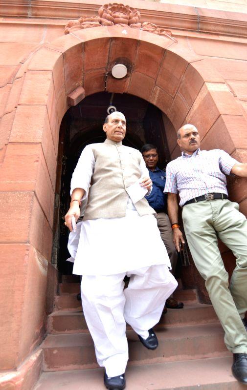 Union Home Minister Rajnath Singh at Parliament in New Delhi on Aug 3, 2018. - Rajnath Singh