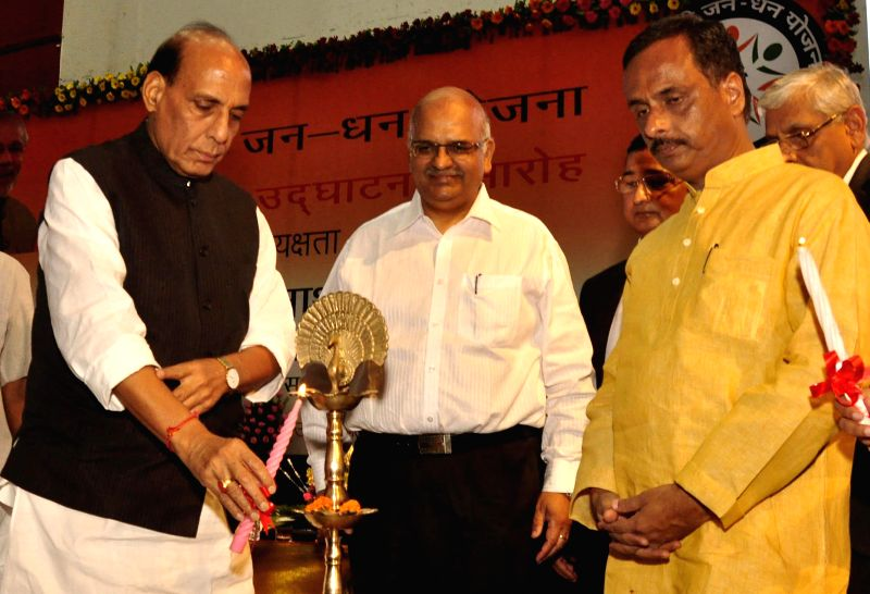 Union Home Minister Rajnath Singh at the inaugural function of Prime Minister Jan-Dhan Abhiyan in Lucknow on Aug 28, 2014. - Rajnath Singh