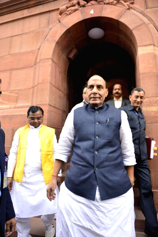 Union Home Minister Rajnath Singh at the Parliament in New Delhi, on Dec 9, 2015. - Rajnath Singh