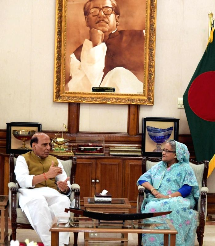 Union Home Minister Rajnath Singh calls on Bangladesh Prime Minister Sheikh Hasina, in Dhaka on July 14, 2018. - Rajnath Singh and Hasina