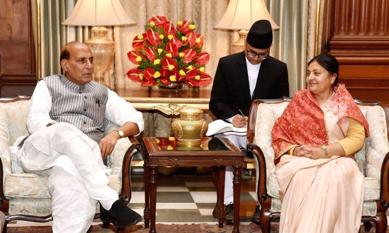 Union Home Minister Rajnath Singh calls on Nepal President Bidya Devi Bhandari in New Delhi, in Delhi on April 18, 2017. - Rajnath Singh