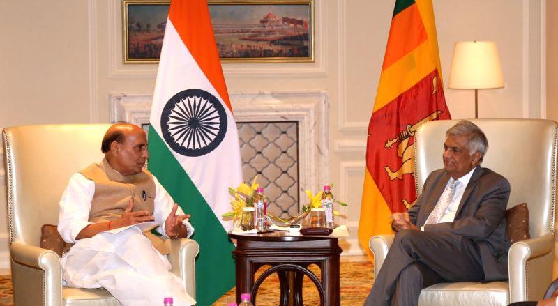 Union Home Minister Rajnath Singh calls on Sri Lankan Prime Minister Ranil Wickremsinghe in New Delhi on April 26, 2017. - Rajnath Singh