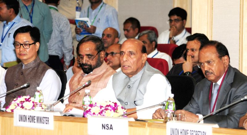 Union Home Minister Rajnath Singh chairs a meeting to review the security issues to deal with Left Wing Extremism (LWE), in New Delhi on May 8, 2017. Also seen Union Minister of State for  ... - Rajnath Singh