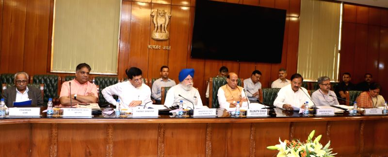 Union Home Minister Rajnath Singh chairs a meeting of the National Implementation Committee of the Ministry of Culture, for the commemorations scheduled for 2018-19 along with Union ... - Rajnath Singh, Piyush Goyal, S. and Mahesh Sharma
