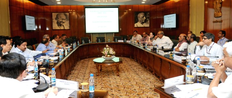 Union Home Minister Rajnath Singh chairs a high level meeting to review the progress of Prime Minister's Development Package (PMDP-2015) for Jammu and Kashmir, in New Delhi on April 27, ... - Rajnath Singh
