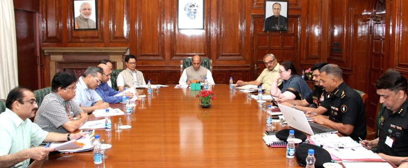 Union Home Minister Rajnath Singh chairs a review meeting on working of National Security Guard (NSG) in New Delhi on June 5, 2017. - Rajnath Singh