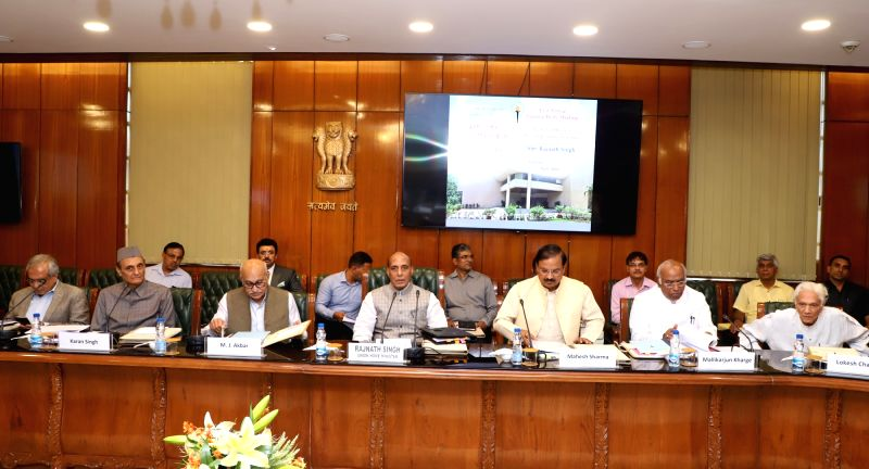Union Home Minister Rajnath Singh chairs the 43rd Annual General Body Meeting of the Nehru Memorial Museum and Library Society along with Union Ministers Mahesh Sharma and M.J. Akbar and ... - Rajnath Singh, Ministers Mahesh Sharma, M. and Karan Singh