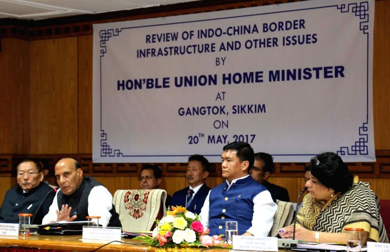 Union Home Minister Rajnath Singh chairs the first security review meeting with Chief Ministers of five states bordering China; in Gangtok, Sikkim on May 20, 2017. - Rajnath Singh