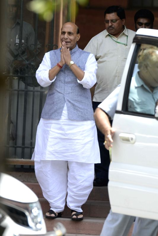 Union Home Minister Rajnath Singh comes out after a cabinet meeting at South Block in New Delhi on June 1, 2016. - Rajnath Singh
