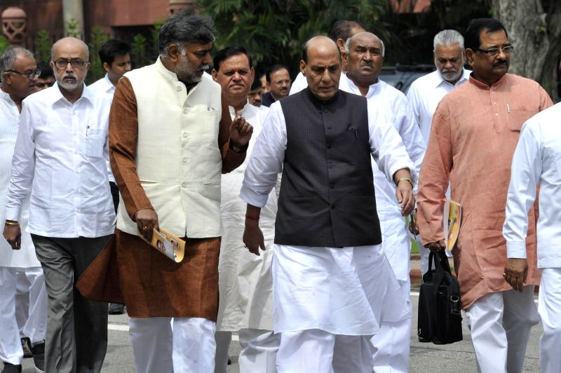 Union Home Minister Rajnath Singh comes out after BJP parliamentary party meeting at Parliament in New Delhi, on Aug 2, 2016. - Rajnath Singh