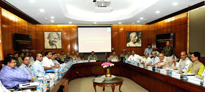Union Home Minister Rajnath Singh during a meeting of the Chief Secretaries and DsGP of Left Wing Extremism (LWE) affected states in New Delhi on June 27, 2014. Also seen Minister of State for Home ..