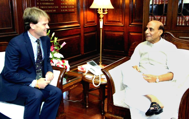 Union Home Minister Rajnath Singh during a meeting with Immigration Minister of Canada Chris Alexander in New Delhi on July 8, 2014. - Rajnath Singh