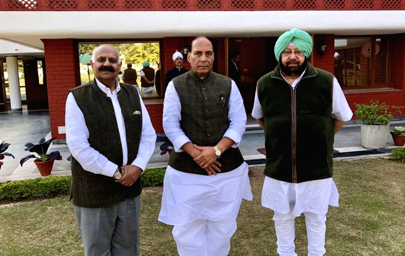 Union Home Minister Rajnath Singh during a meeting with Punjab Governor VPS Badnore and Chief Minister Captain Amarinder Singh in Chandigarh on Jan 30, 2018. - Rajnath Singh and Amarinder Singh
