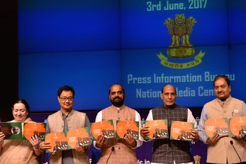 Union Home Minister Rajnath Singh during a press conference on regarding achievements and initiatives of his department in New Delhi on June 3, 2017. Also seen Union MoS Home Affairs ... - Rajnath Singh