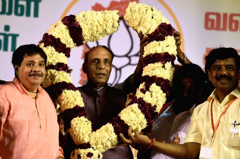 Union Home Minister Rajnath Singh during a rally ahead of Tamil Nadu Assembly polls in Chennai on May 12, 2016. - Rajnath Singh
