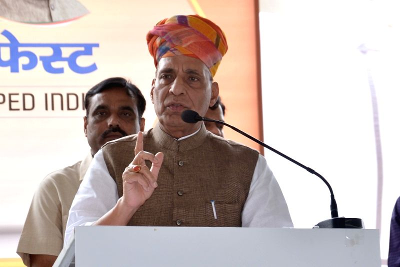 Union Home Minister Rajnath Singh during 'Modi Fest' (Making of Developed India Festival) being organised at Muhana Mandi in Jaipur on June 9, 2017. - Rajnath Singh