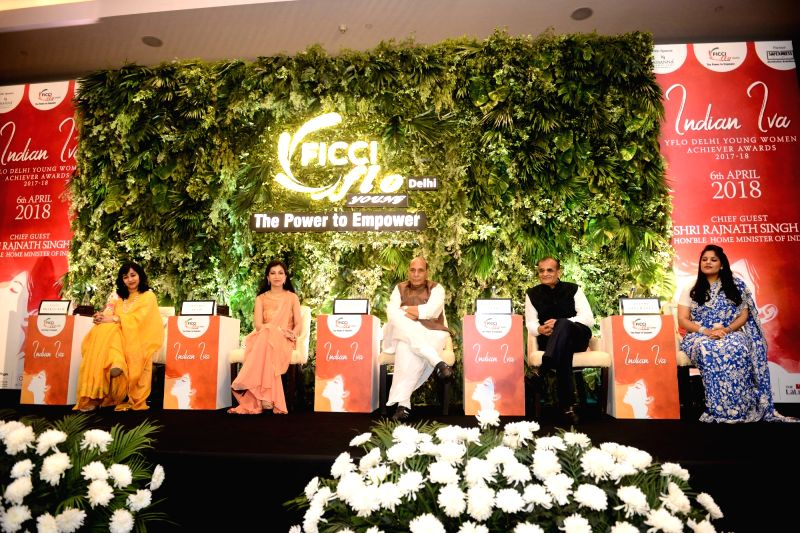 Union Home Minister Rajnath Singh during the Young Women Achievers Awards function 2017-18 organised by the FICCI in New Delhi on April 6, 2018. - Rajnath Singh