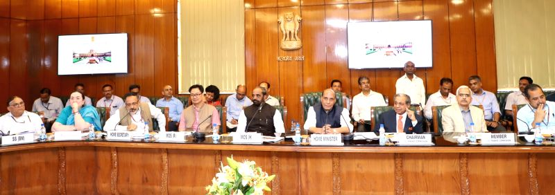 Union Home Minister Rajnath Singh holds meeting with the Finance Commission Chairman NK Singh and other members, in New Delhi on April 21, 2018. Also seen Union Ministers Hansraj Gangaram ... - Rajnath Singh, Hansraj Gangaram Ahir and Kiren Rijiju