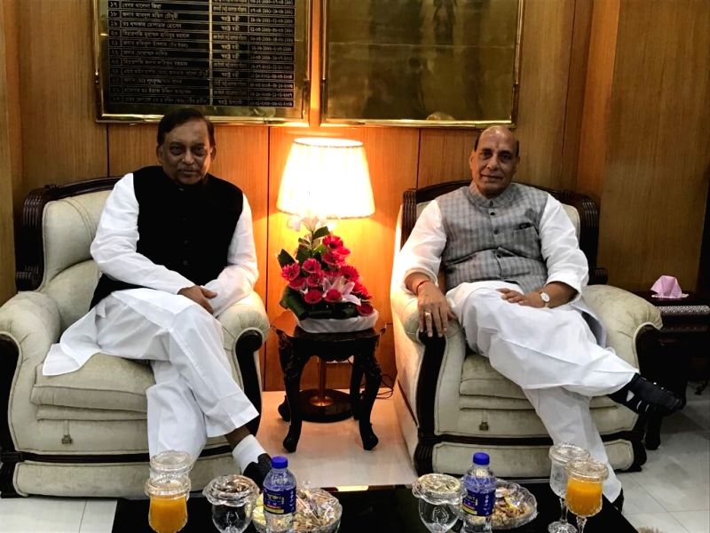 Union Home Minister Rajnath Singh meets his Bangladeshi counterpart Asaduzzaman Khan, in Dhaka on July 15, 2018. - Rajnath Singh and Asaduzzaman Khan