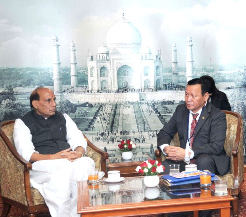 Union Home Minister Rajnath Singh meets the Deputy Prime Minister of Mongolia, Tserendash Oyunbaatar, in New Delhi on Nov 17, 2015.