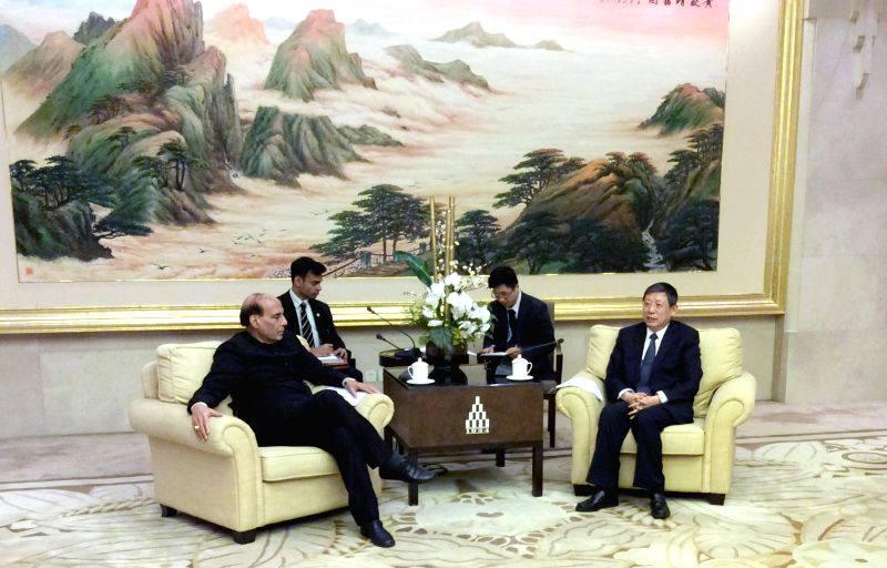 Union Home Minister Rajnath Singh meets the Mayor of Shanghai, Yang Xiang, in Shanghai, China on Nov 23, 2015.