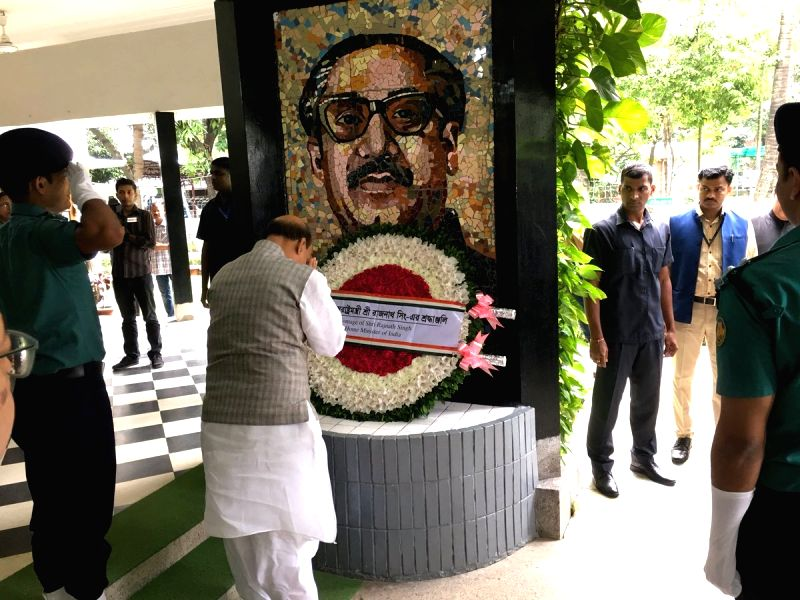 Union Home Minister Rajnath Singh pays tributes to the Father of the Nation of Bangladesh, Sheikh Mujibur Rahman during his visit to the Bangabandhu Museum, in Dhaka on July 15, 2018. - Rajnath Singh