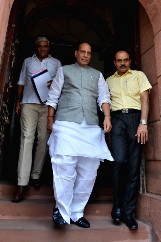 Union Home Minister Rajnath Singh seen leaving after day-2 of Parliament's monsoon session, in New Delhi, on July 19, 2018. - Rajnath Singh