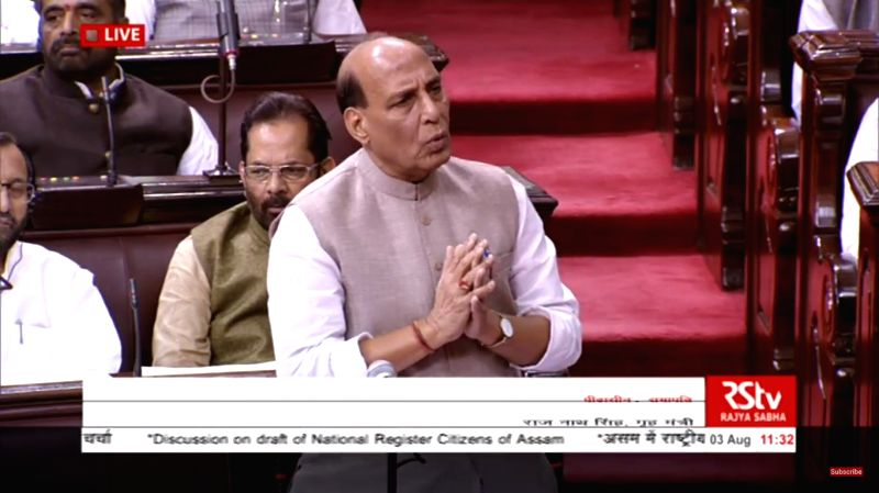 Union Home Minister Rajnath Singh speaking during a discussion on NRC at the Rajya Sabha on Aug 3, 2018. - Rajnath Singh