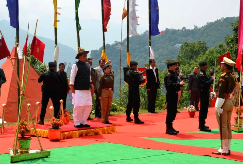 Union Home Minister Rajnath Singh takes salute, during his visit to the Sashastra Seema Bal's 36th Batallion at Gayzing, in Western District of Sikkim on May 21, 2017. - Rajnath Singh