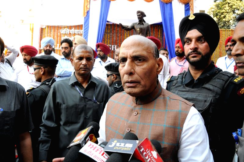 Union Home Minister Rajnath Singh talks to the press after attending the unveiling ceremony of the statue of Shaheed Udham Singh at Jallianwala Bagh in Amritsar on March 13, 2018. - Rajnath Singh and Udham Singh