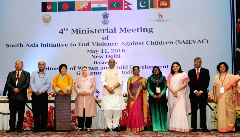 Union Home Minister Rajnath Singh, Union Minister for Women and Child Development Maneka Gandhi and other dignitaries at the 4th Ministerial Meeting of South Asia Initiative to End ... - Rajnath Singh and Development Maneka Gandhi