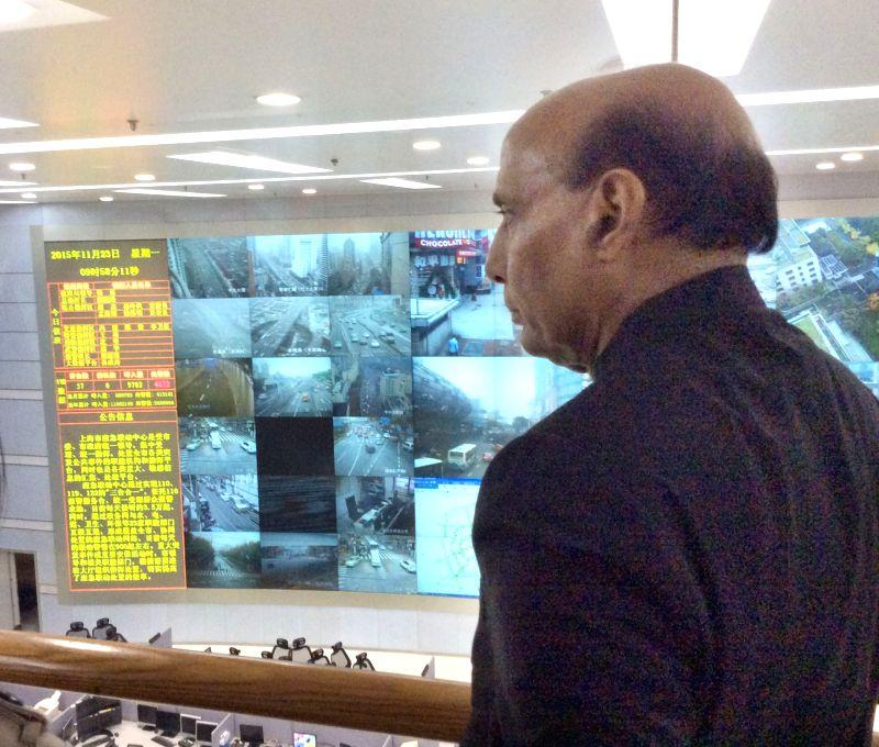 Union Home Minister Rajnath Singh visits the Shanghai Command Control Centre, China on Nov 23, 2015.