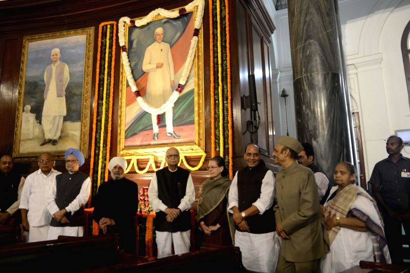 Union Home Minister Rajnath Singh with Congress chief Sonia Gandhi, Dr Manmohan Singh, L K Advani and Karan Singh during a programme organised to pay tribute to former Prime Minister ... - Rajnath Singh, Sonia Gandhi, Manmohan Singh, L K Advani and Karan Singh