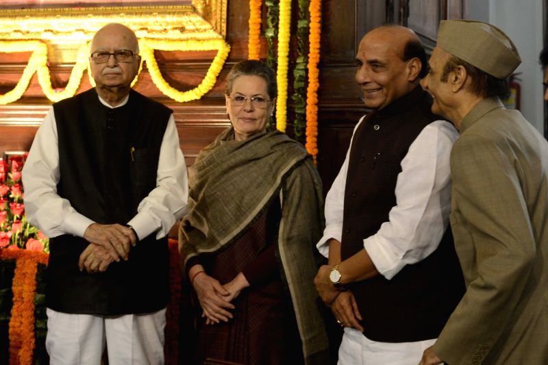Union Home Minister Rajnath Singh with Congress chief Sonia Gandhi, L K Advani and Karan Singh during a programme organised to pay tribute to former Prime Minister Pandit Jawaharlal Nehru ... - Rajnath Singh, Sonia Gandhi, L K Advani and Karan Singh