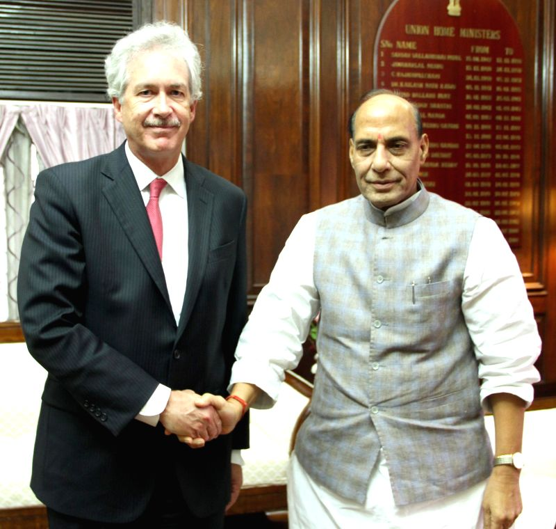 Union Home Minister Rajnath Singh with US Deputy Secretary of State, William Joseph Burns during a meeting in New Delhi on July 10, 2014. - Rajnath Singh