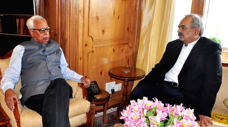 Union Home Secretary Rajiv Mehrishi calls on Jammu and Kashmir Governor N N Vohra in Srinagar, on May 11, 2017.