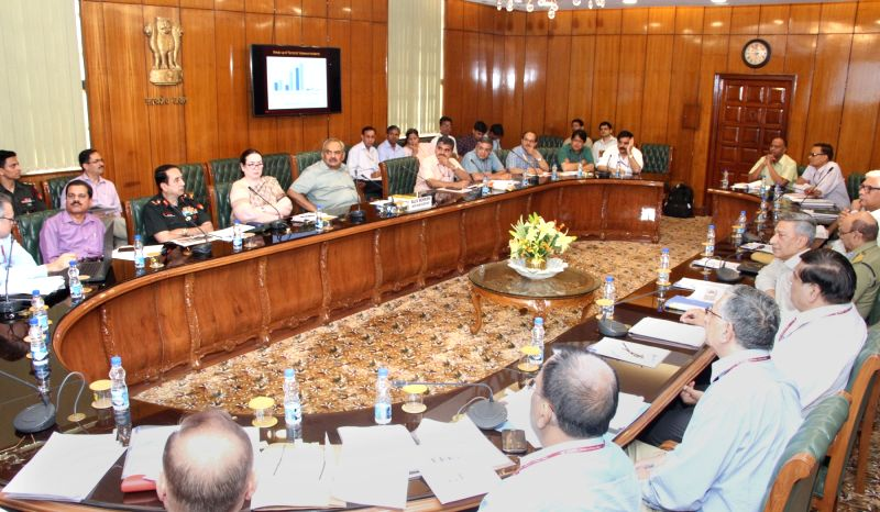 Union Home Secretary Rajiv Mehrishi chairs a meeting to review the preparations for forthcoming Amarnath Yatra, in New Delhi on May 23, 2017.