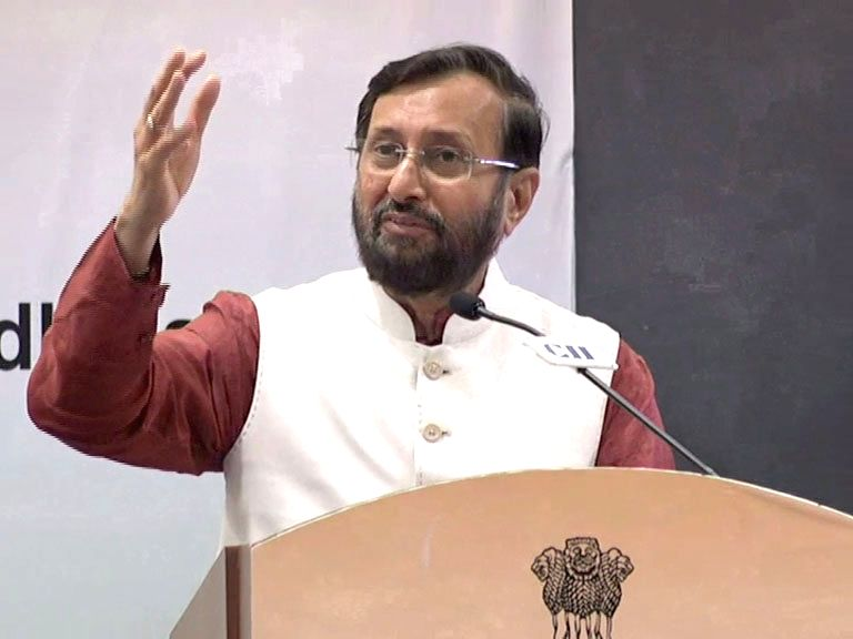 Union HRD Minister Prakash Javadekar addresses during a session on 'Africa-India cooperation on Skill Development & Education - Focus on people-to-people Exchange', at the Annual ... - Prakash Javadekar