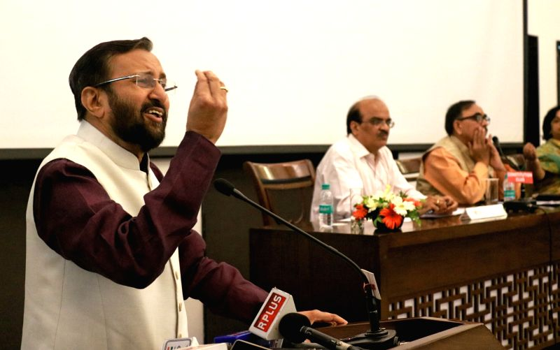 Union HRD Minister Prakash Javadekar addresses during a programme organised to felicitate CBSE top scorers in New Delhi, on June 13, 2017. - Prakash Javadekar