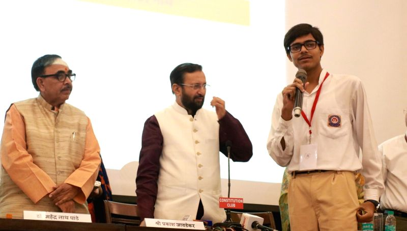 Union HRD Minister Prakash Javadekar during a programme organised to felicitate CBSE top scorers in New Delhi, on June 13, 2017. - Prakash Javadekar