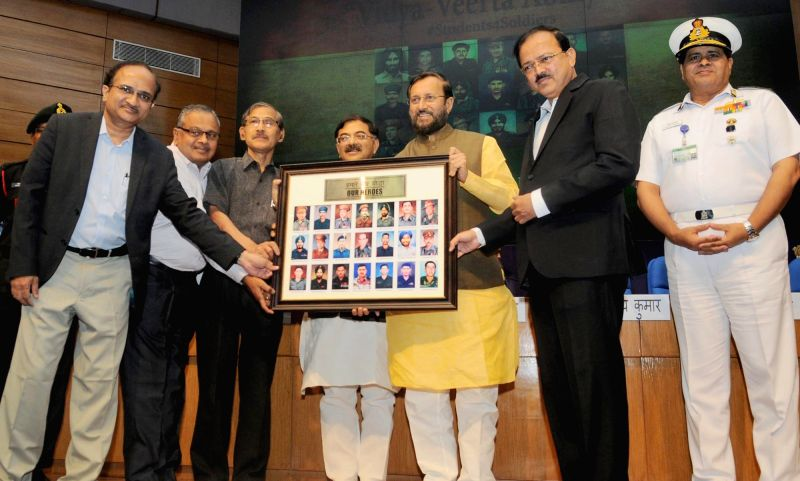 "Union HRD Minister Prakash Javadekar honours Param Veer Chakra winning heroes at the inauguration of the ""VIDYA, VEERTA ABHIYAAN"", in New Delhi on May 2, 2017. - Prakash Javadekar"